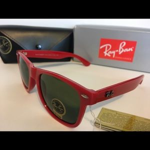 Red Ray-Ban sunglasses